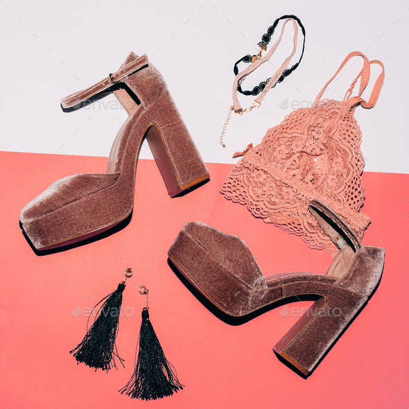 Stylish suede shoes. High heel. Fashion jewelry and lace underwe - Stock Photo - Images