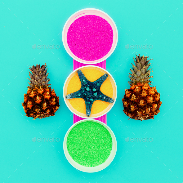 Candy Colors Art Sea Salt, Starfish, Pineapples minimal - Stock Photo - Images