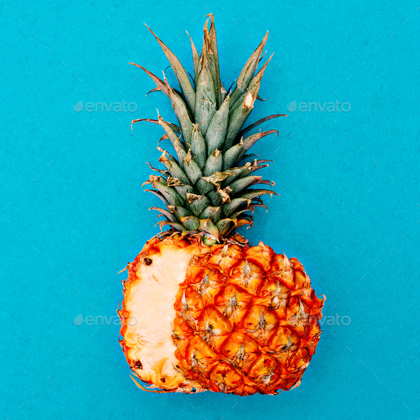 Cut pineapple. Tropical style. Minimal - Stock Photo - Images