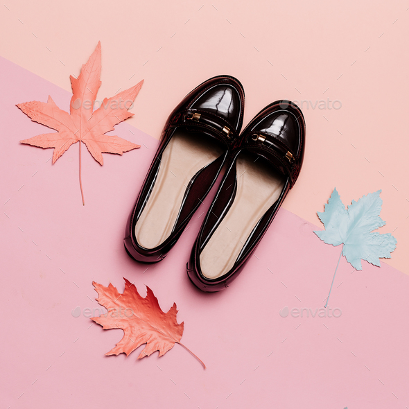 Fashionable shoes for Lady Vintage Concept. Minimal design - Stock Photo - Images