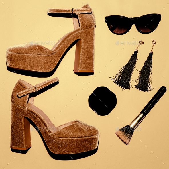 High Heel shoes. Trend. Style. Fashion concept. Be Lady. Set of - Stock Photo - Images