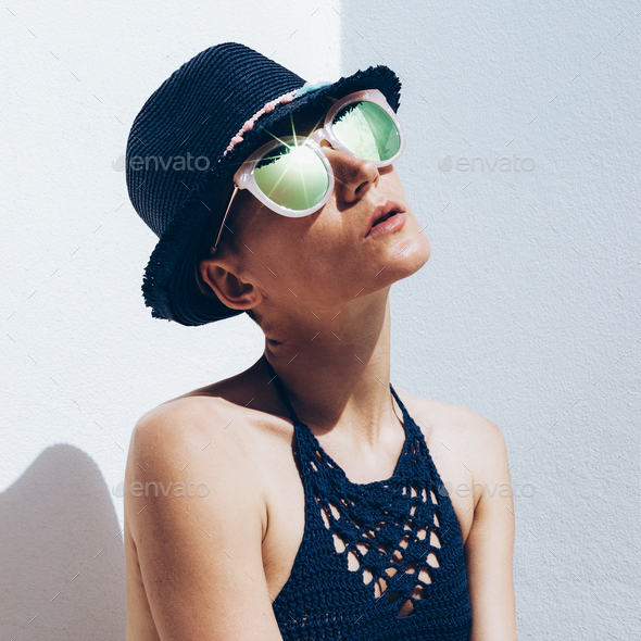 Cuba Relax time summer fashion. Hipster model outfit stylish sun - Stock Photo - Images