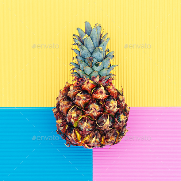 Pineapple in a geometric background Minimal art design fashion - Stock Photo - Images