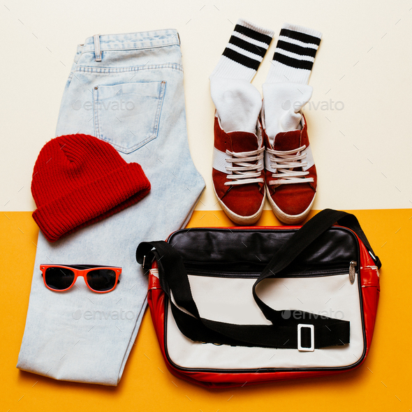 Urban active style set. Outfit jeans, cap, shoes bag - Stock Photo - Images