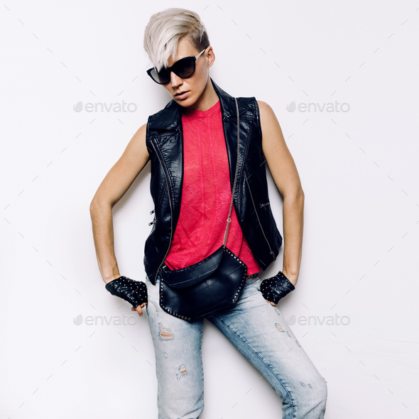 Girl Rock Style Urban fashion accessories. Denim Style Leather a - Stock Photo - Images