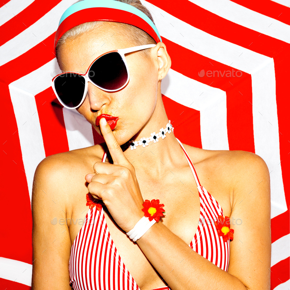 Summer secret. Blonde in beach accessories. Hot summer party - Stock Photo - Images
