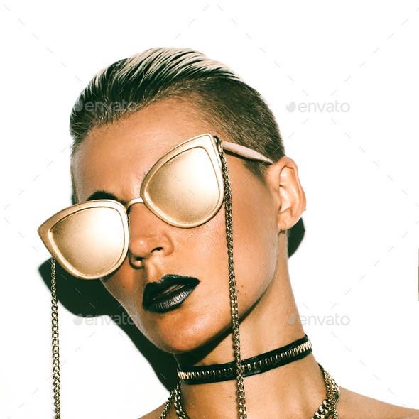 Fashion Girl Swag Luxury style. Gold Party. Gold glasses. - Stock Photo - Images