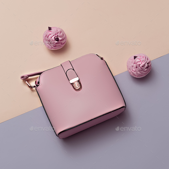 Ladies Fashion Accessories. Pink Bag Pastel colors Trend Minimal - Stock Photo - Images