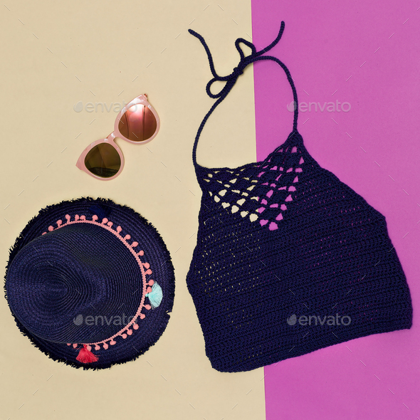 Summer hat, sunglasses, knitted top. Minimal accessory trend - Stock Photo - Images
