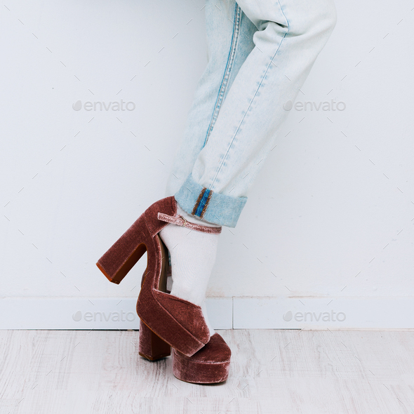 Casual fashion style. High heels and denim. Outfit Lady - Stock Photo - Images