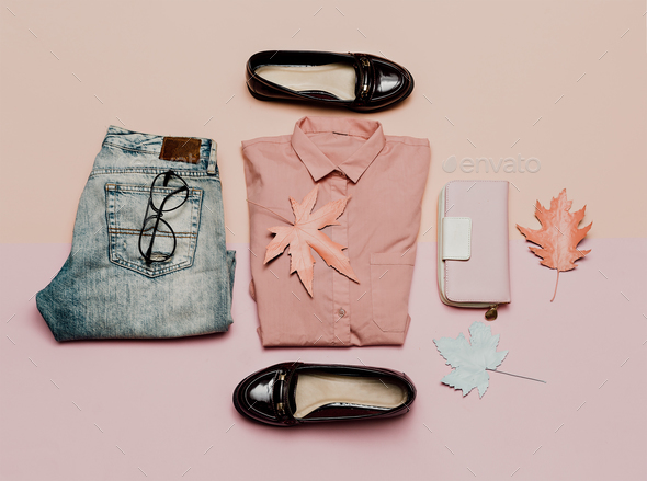 clothes top view. For woman. Stylish casual look and accessories - Stock Photo - Images