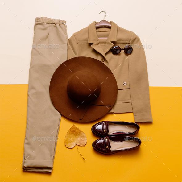 Vintage Fashion. Beige suit. Lady. romantic Outfit - Stock Photo - Images