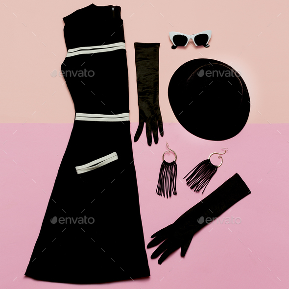 Black Vintage Dress and Accessories. Mademoiselle style. Gloves, - Stock Photo - Images