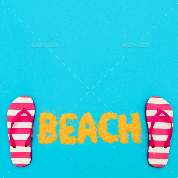 Beach mood. vacation time. Minimal art - Stock Photo - Images