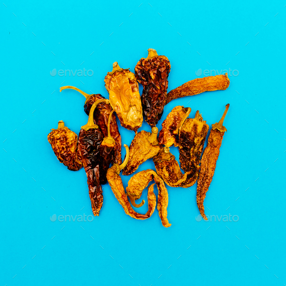 Set of Dried Peppers. Minimal art style - Stock Photo - Images
