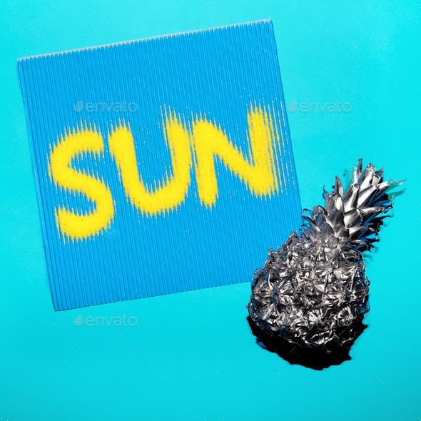 Pineapple and sun. Minimal art style - Stock Photo - Images