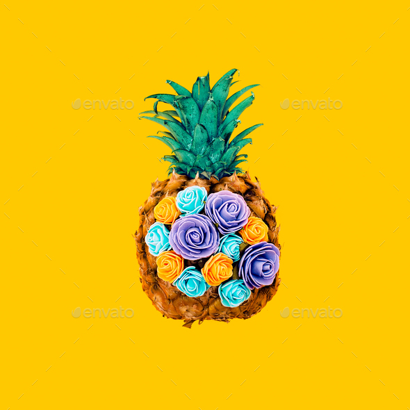 Creative design pineapple and flowers. Minimal surreal art - Stock Photo - Images