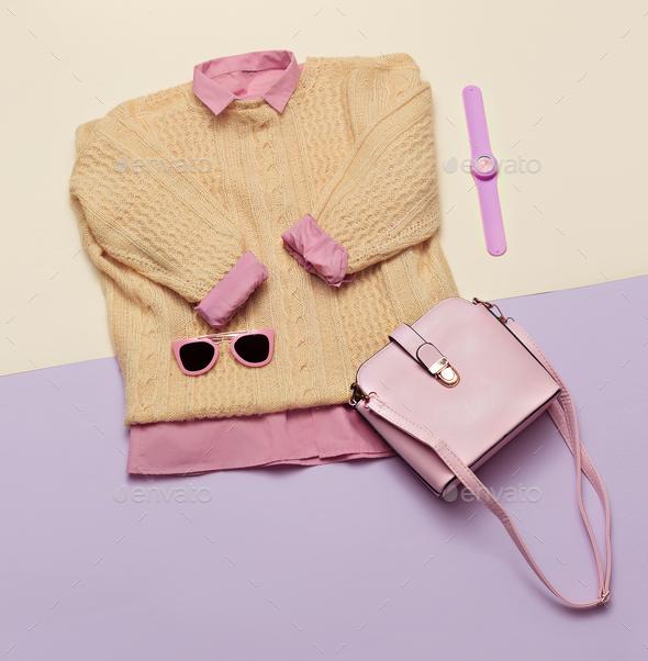 Stylish female clothes set. Woman/girl outfit on stylish backgro - Stock Photo - Images