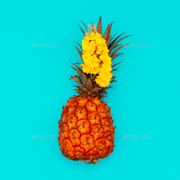 Pineapple and flowers. Tropical mood. Minimal style - Stock Photo - Images