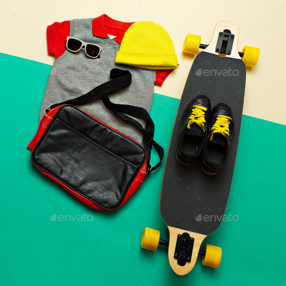 Skateboard set. Accessories. sunglasses sneakers. Skateboard act - Stock Photo - Images