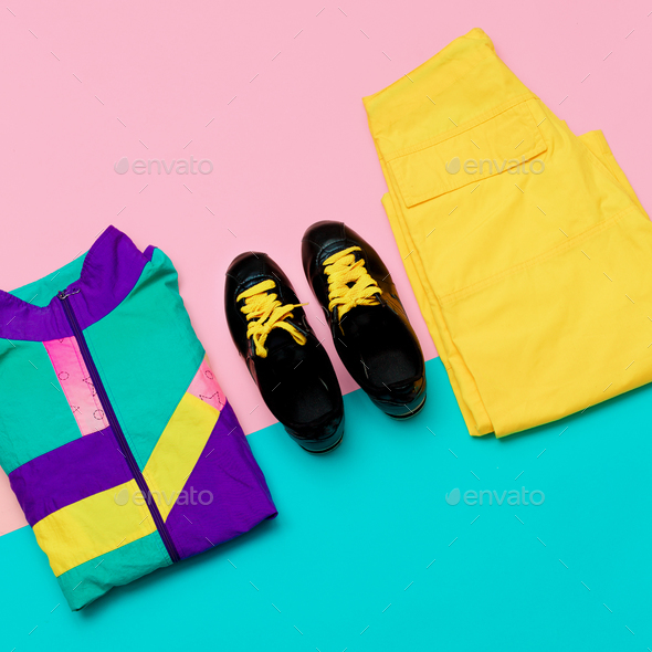Vanilla Sport Outfit Windbreaker Sneakers Active Minimal style u - Stock Photo - Images