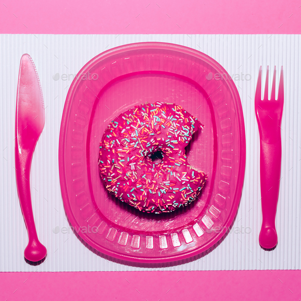 Pink donuts. Fast food minimal art - Stock Photo - Images