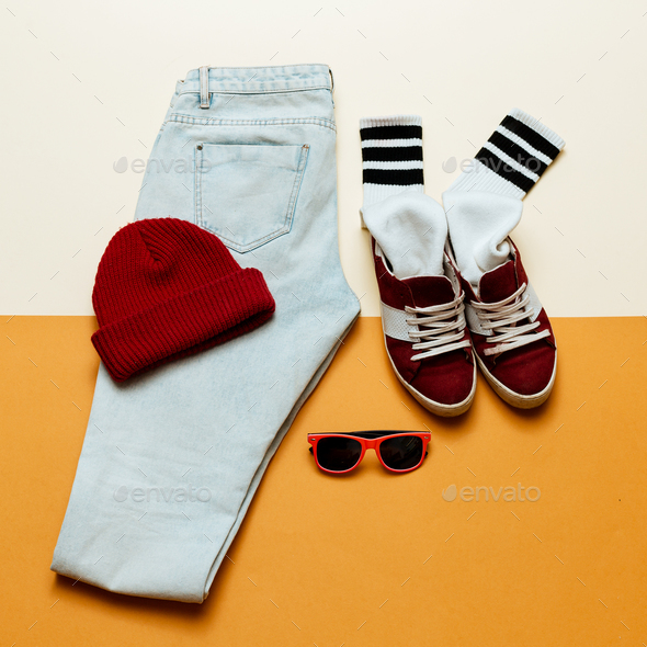 Urban active style. OutfitJeans, cap, shoes - Stock Photo - Images