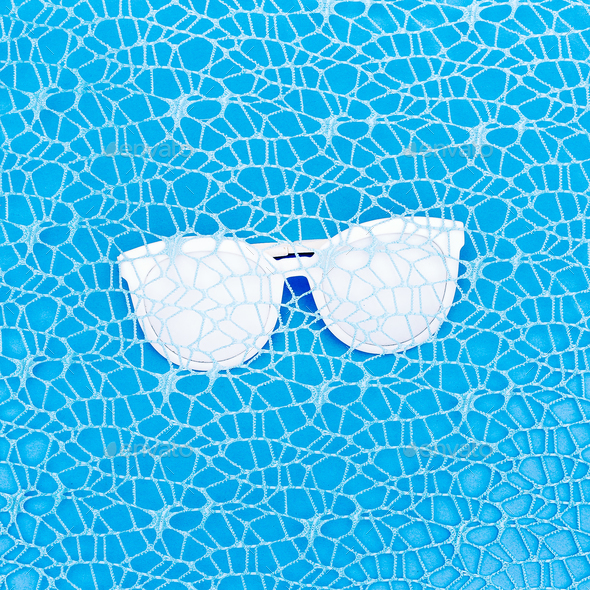 Glasses in blue. Minimal art design - Stock Photo - Images
