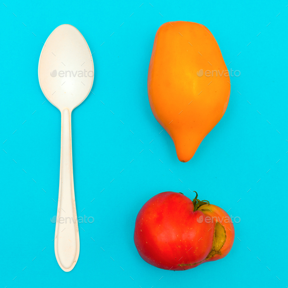 Raw Lunch. Tomatoes. Minimal art - Stock Photo - Images