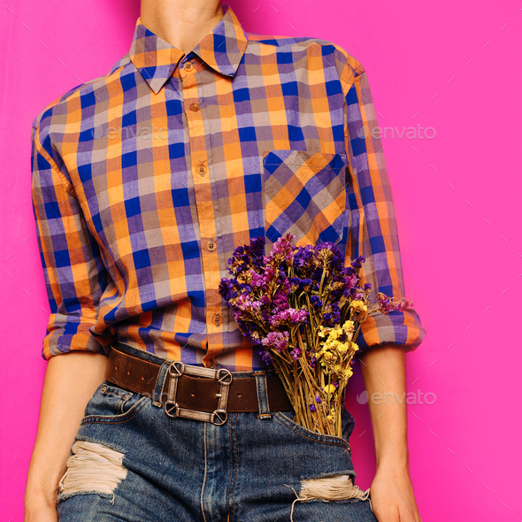 Country style fashion model Summer. Accessories. classic blue je - Stock Photo - Images