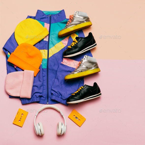 Vintage sportswear. Headphones. Hipster style. Fashion blogger h - Stock Photo - Images