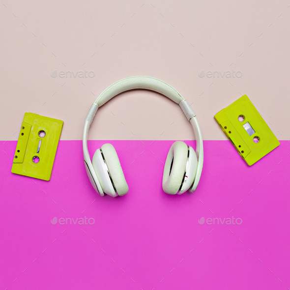 Minimal creative art. Musical retro vibrations. Headphones and a - Stock Photo - Images