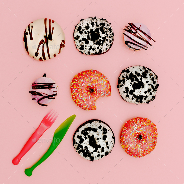 Mix donuts. Fashion Fast Food minimal art Surreal Creative - Stock Photo - Images