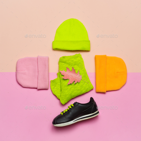 Fashion blogger help. A set  beanie and sneakers. Bright spring - Stock Photo - Images