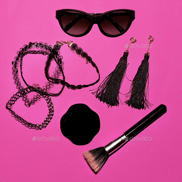 Trend. Style. Fashion concept. Be Lady. Set of make-up and sungl - Stock Photo - Images