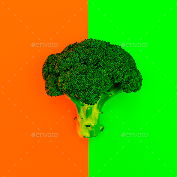 Cabbage Broccoli Vegan style minimal - Stock Photo - Images