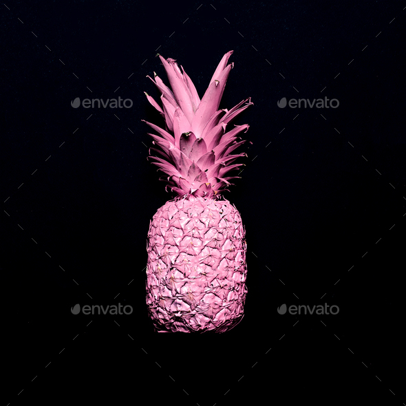Pink pineapple. Surreal minimal art - Stock Photo - Images
