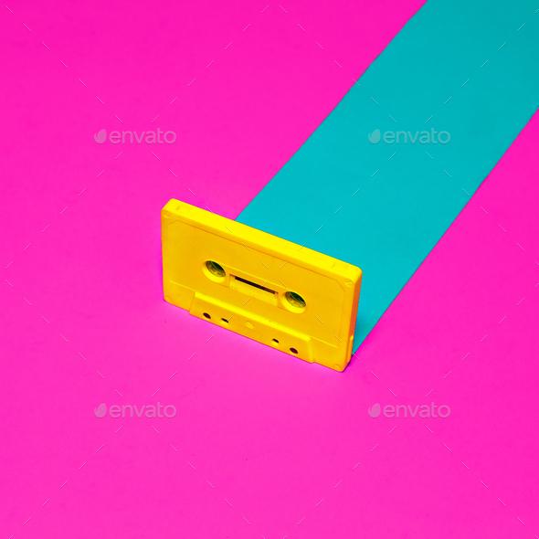 Vintage retro design minimal. Audio cassette - Stock Photo - Images