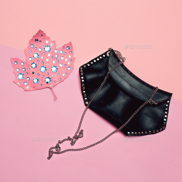 Fashion accessories for women. Clutch bag. Rhinestones glam vibe - Stock Photo - Images