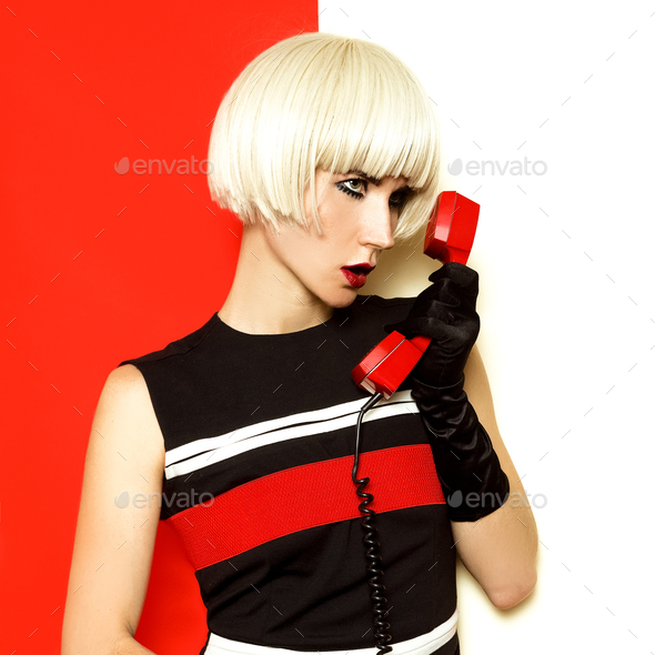 Blond retro style with vintage phone and vintage clothing. Minim - Stock Photo - Images