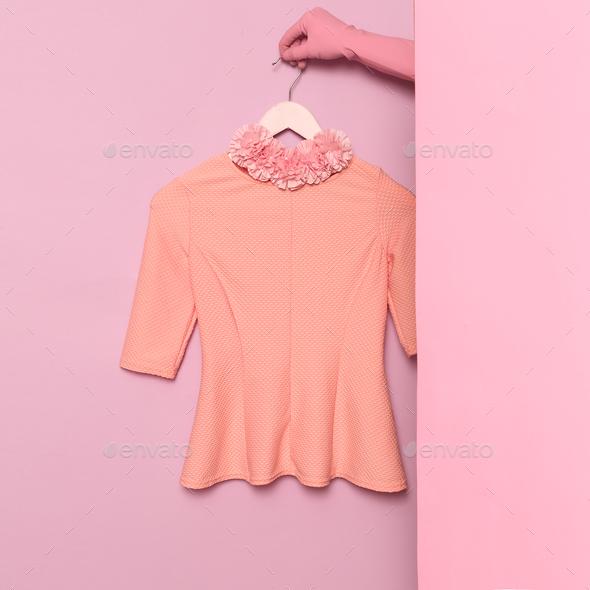 Stylish clothes. Minimal fashion. Romantic summer blouse Lady. - Stock Photo - Images