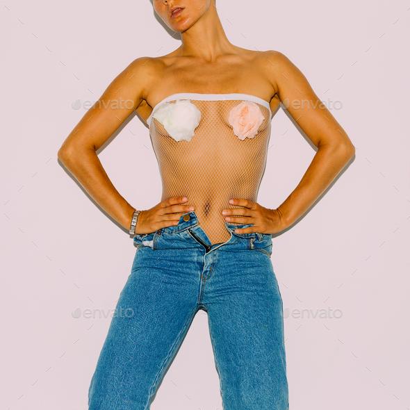 Girl vintage jeans. Stylish look Retro fashion - Stock Photo - Images