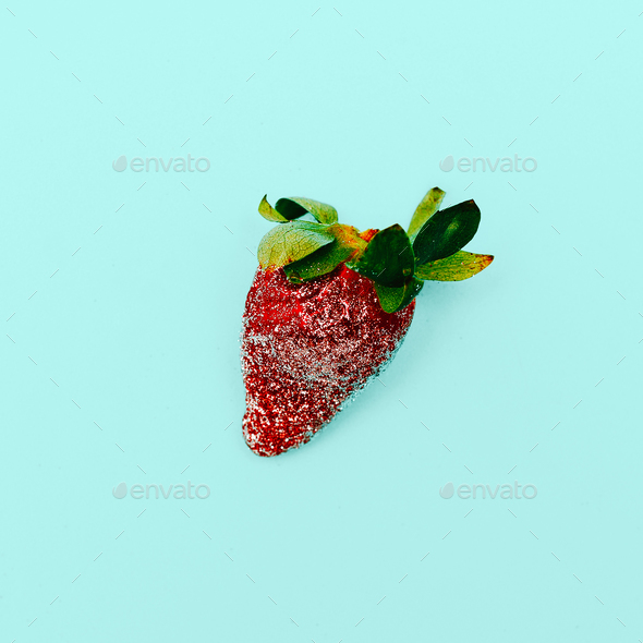 Fashion Strawberry Sweet Concept Glamour Glitter Minimal Stillif - Stock Photo - Images