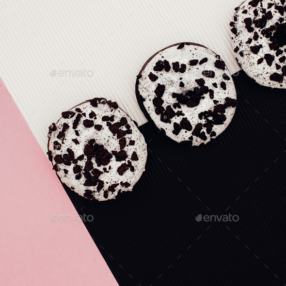 A set of donuts. Fashion Fast Food minimal art Surreal - Stock Photo - Images