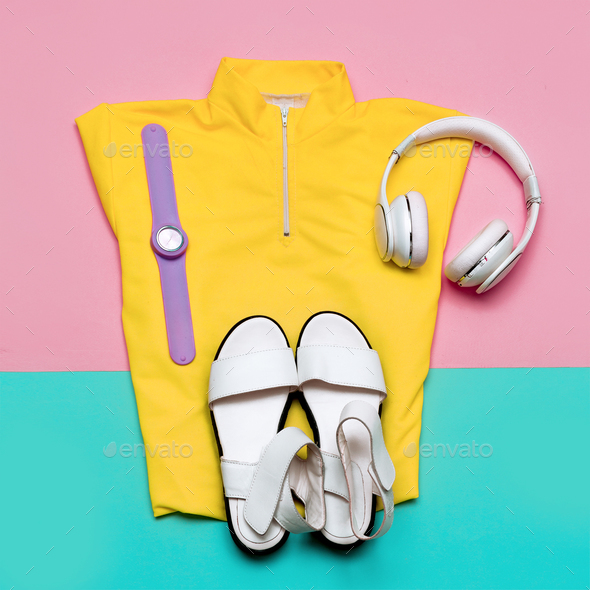 Headphones and a bright T-shirt Urban Minimal Outfit - Stock Photo - Images