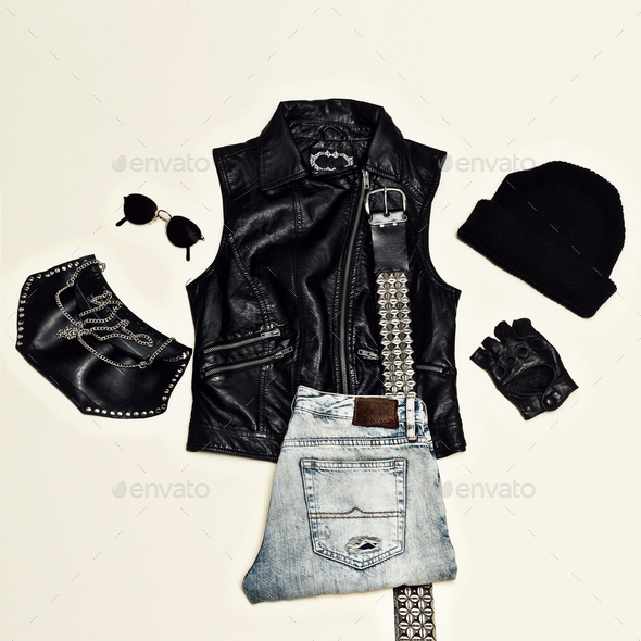 Rock style set. Black Urban fashion. Vest, clutch bag, cap. Blac - Stock Photo - Images