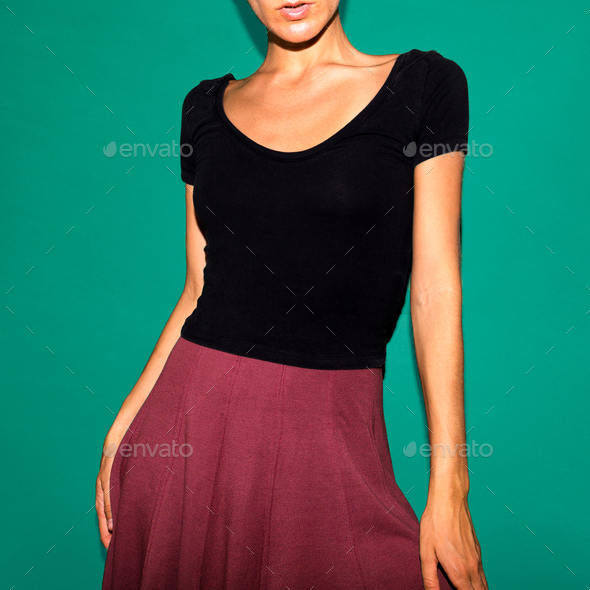 Girl in a skirt. Vintage fashion style outfit - Stock Photo - Images