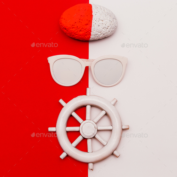 Marine style. Minimal design. Fashion accessories. Sunglasses - Stock Photo - Images