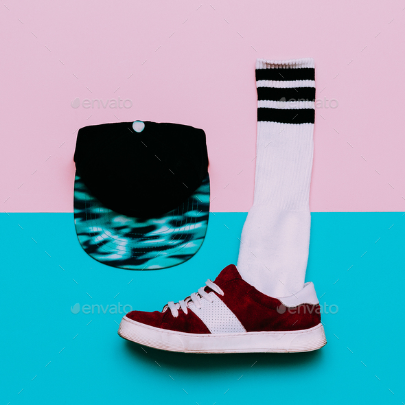 Flat lay fashion set: Fashion skateboard shoes, fashion stocking - Stock Photo - Images