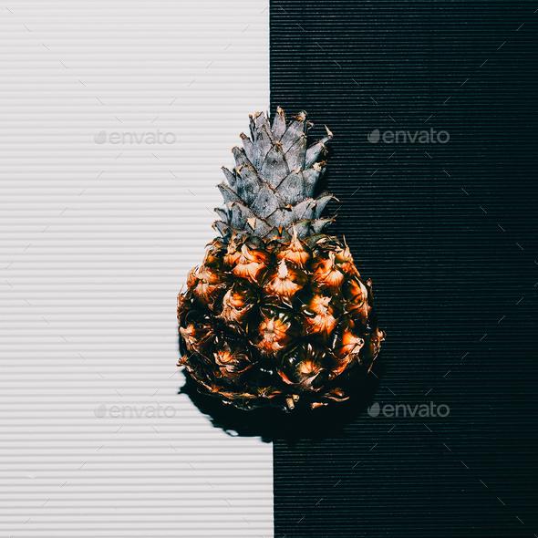 Pineapples fashion White black minimal art - Stock Photo - Images